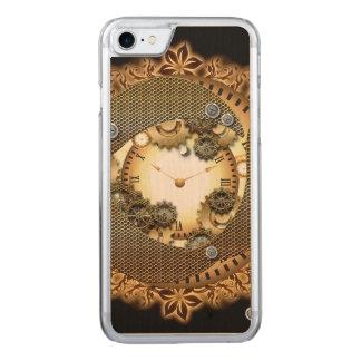 Steampunk, Uhren und Gänge im goldenen colorsg Carved iPhone 8/7 Hülle