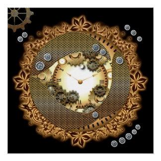Steampunk, Uhren und Gänge im goldenen colorsg Poster