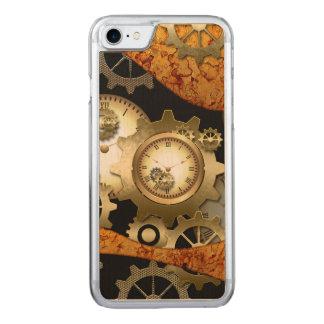 Steampunk, Uhren und Gänge in den goldenen Farben Carved iPhone 8/7 Hülle
