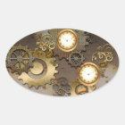 Steampunk, Uhren und Gänge Ovaler Aufkleber