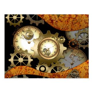 Steampunk, Uhren und Gänge Postkarte