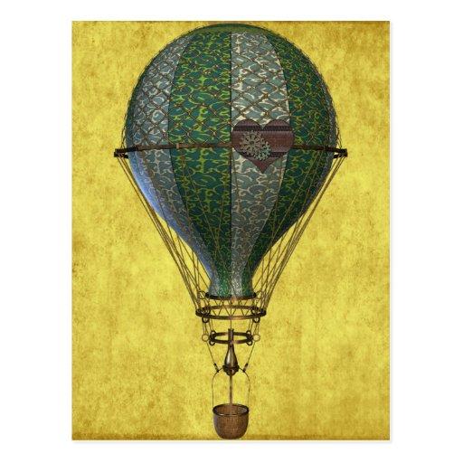 Steampunk viktorianischer Ballon Postkarten