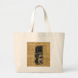 steampunk Vintage Skriptleinwand-Antikenkamera Jumbo Stoffbeutel