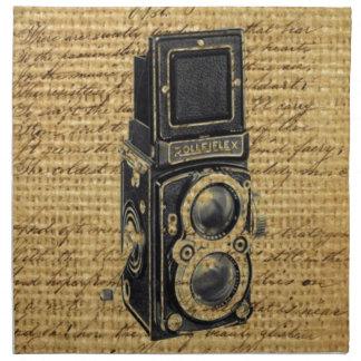 steampunk Vintage Skriptleinwand-Antikenkamera Stoffserviette
