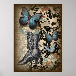 steampunk Vintager Schuh Blumenschmetterlinges Poster