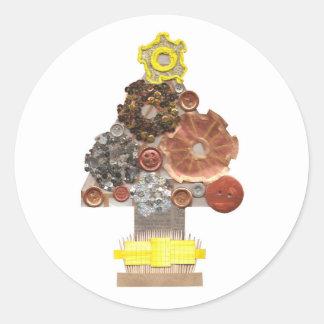 Steampunk Weihnachtsbaum-Aufkleber Runder Aufkleber