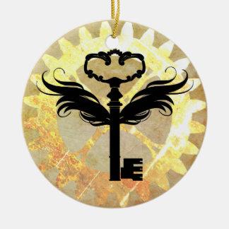 Steampunk Winged Schlüssel und Zahn-Rad Keramik Ornament