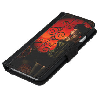 Steampunk, wunderbare steampunk Dame in der Nacht Geldbeutel Hülle Für Das iPhone 6/6s