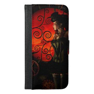 Steampunk, wunderbare steampunk Dame in der Nacht iPhone 6/6s Plus Geldbeutel Hülle