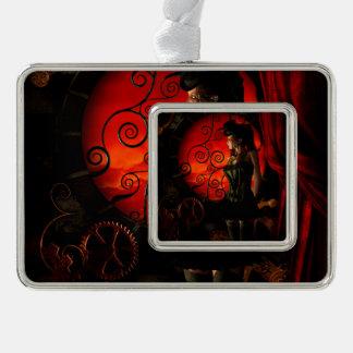 Steampunk, wunderbare steampunk Dame in der Nacht Rahmen-Ornament Silber