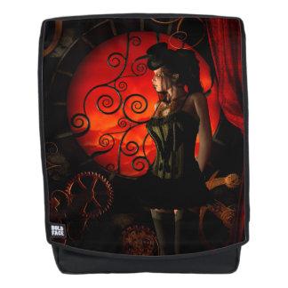 Steampunk, wunderbare steampunk Dame in der Nacht Rucksack