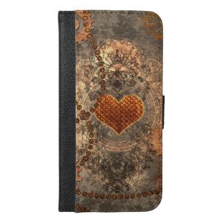 Steampunk, wunderbares Herz gemacht vom rostigen iPhone 6/6s Plus Geldbeutel Hülle