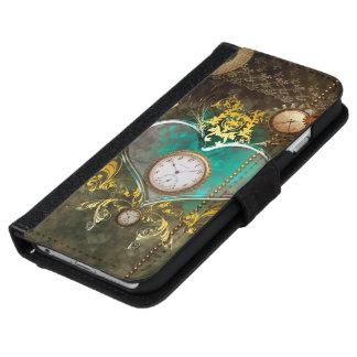 Steampunk, wunderbares Herz mit Uhren Geldbeutel Hülle Für Das iPhone 6/6s