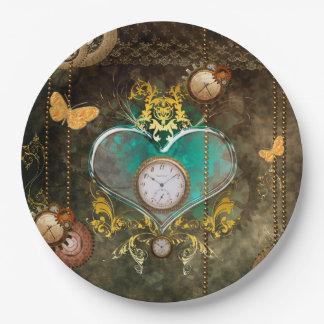 Steampunk, wunderbares Herz mit Uhren Pappteller