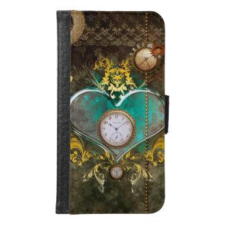 Steampunk, wunderbares Herz mit Uhren Samsung Galaxy S6 Geldbeutel Hülle