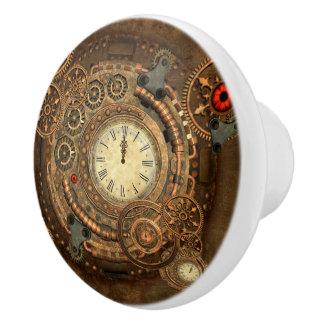 Steampunk, wunderbares Uhrwerk Keramikknauf
