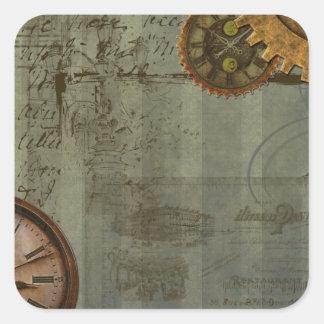 Steampunk Zeit-Maschine Quadrat-Aufkleber