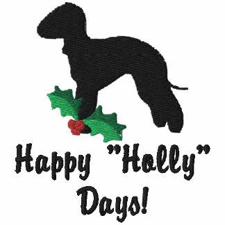 Stechpalme Bedlington Terrier-gesticktes Shirt Bestickter Damen Pullover Hoodie