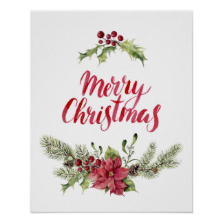 Stechpalme des Weihnachten| u. Kiefern-festliches Poster