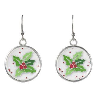 Stechpalme u. Beeren-Weihnachten Ohrringe