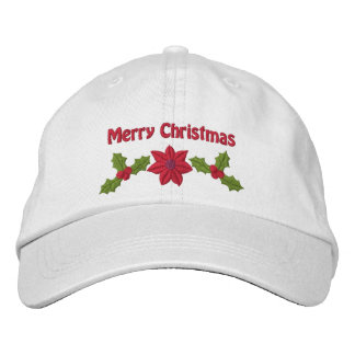 Stechpalme und Poinsettia gestickter Weihnachtshut Bestickte Baseballmütze