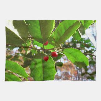 Stechpalme verlässt Natur des Feiertags-II Küchentuch