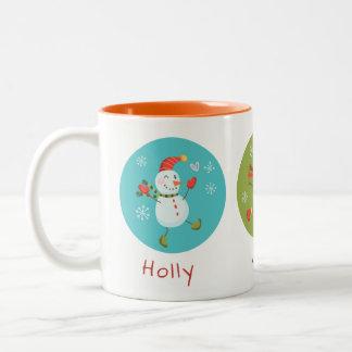 Stechpalmelustige Snowmen-Feiertags-Tasse Zweifarbige Tasse