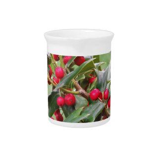 Stechpalmen-Baumast mit roten Beeren Krug