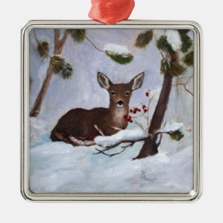 Stechpalmen-Beeren-Rotwild-Verzierung Silbernes Ornament