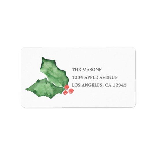 Stechpalmen-Beeren und Blätter Adressaufkleber