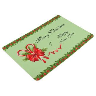 Stechpalmen-Beeren Weihnachten und Zuckerstangen Bodenmatte