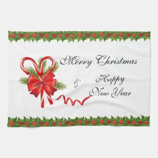Stechpalmen-Beeren Weihnachten und Zuckerstangen Geschirrtuch