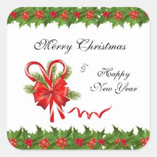 Stechpalmen-Beeren Weihnachten und Zuckerstangen Quadratischer Aufkleber
