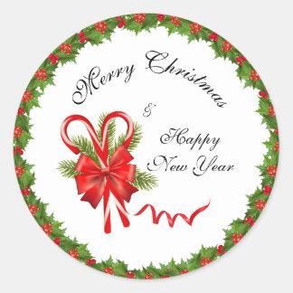 Stechpalmen-Beeren Weihnachten und Zuckerstangen Runder Aufkleber