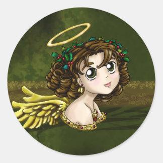 Stechpalmen-Engel Runder Aufkleber