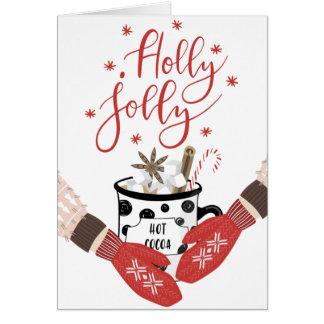 Stechpalmen-lustige rote Weihnachtskarte Karte