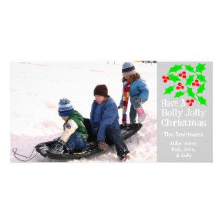 Stechpalmen-lustige WeihnachtsFotokarten (Silber) Photokarten