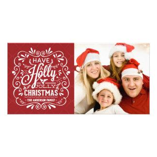 Stechpalmen-lustiges Weihnachtsextravagante Fotogrußkarten