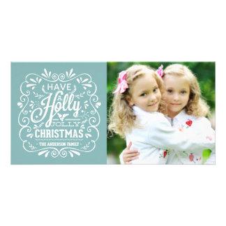 Stechpalmen-lustiges Weihnachtsextravagante Fotokartenvorlage