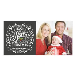 Stechpalmen-lustiges Weihnachtsextravagante Personalisierte Foto Karte