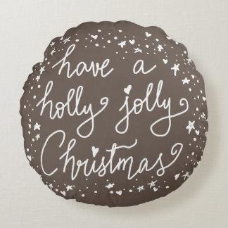 Stechpalmen-lustiges Weihnachtshandgeschriebene Rundes Kissen