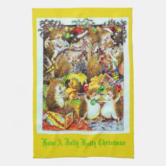 Stechpalmen-lustiges WeihnachtsIgels-Tee-Tuch Geschirrtuch