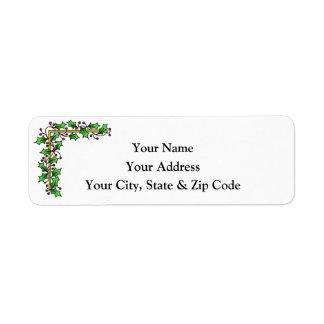 Stechpalmen-u. Beeren-Weihnachtsadressen-Etikett