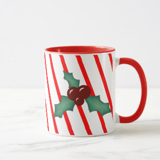 Stechpalmen-und Streifen-WeihnachtsTasse Tasse