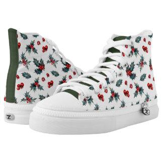 Stechpalmesprig-Weihnachtshohe Spitzenturnschuhe Hoch-geschnittene Sneaker