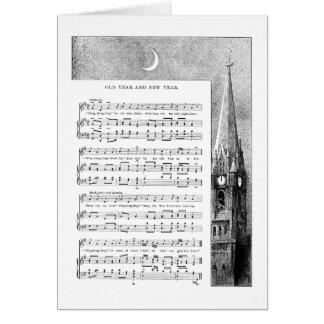 Steeple-und Mond-neues Jahr-Lied Karte