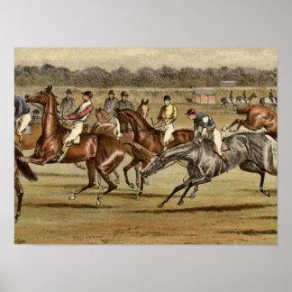 Steeplechase-Pferderennen-Druck 1886 Poster