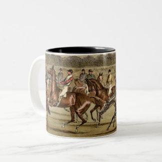 Steeplechase-Pferderennen-Kunst 1886 Zweifarbige Tasse