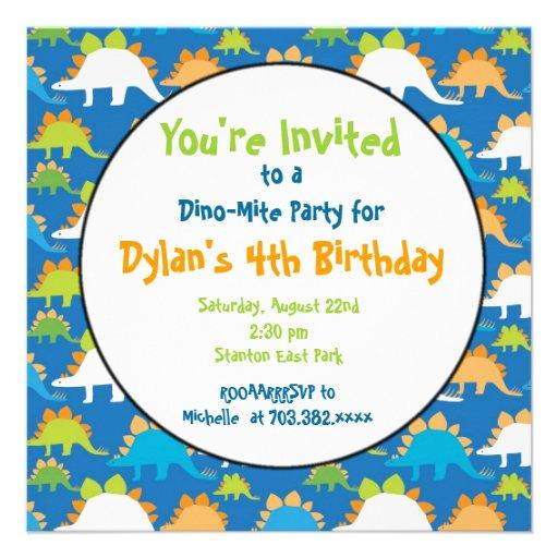 Stegosaurus-Dinosaurier-Geburtstags-Party Individuelle Ankündigungen