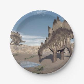 Stegosaurus nahe Wasser - 3D übertragen Pappteller